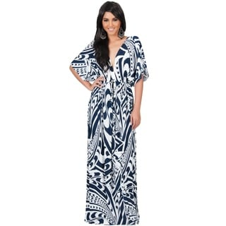 Koh Koh Women's Kimono Sleeve Retro Long Graphic Print Maxi Dress