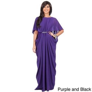 Koh Koh Women's Half-Sleeve Chiffon Embellished Maxi Dress