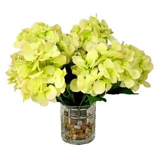Green Hydrangeas in Pebble-filled Cut Glass Vase