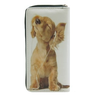 Pet Togo Puppy with Earbuds Zip-around Wallet