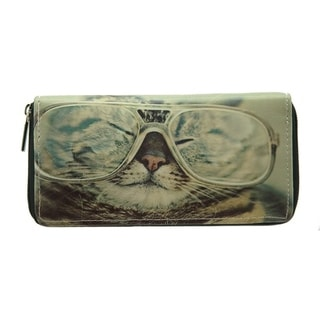 Pet Togo Kitten Face with Glasses Zip-around Wallet