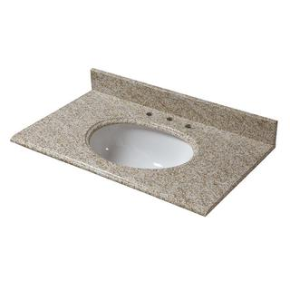 25-inch W Granite Vanity Top in Golden Hill with White Basin