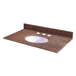 25-inch W Granite Vanity Top in Terra Cotta with White Bowl and 8-inch Faucet Spread