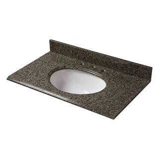 25-inch W Granite Vanity Top in Quadro with White Bowl and 8-inch Faucet Spread