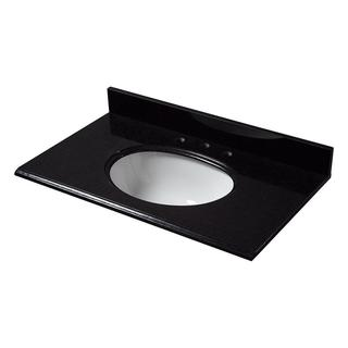 25-inch Granite Vanity Top in Black with White Basin