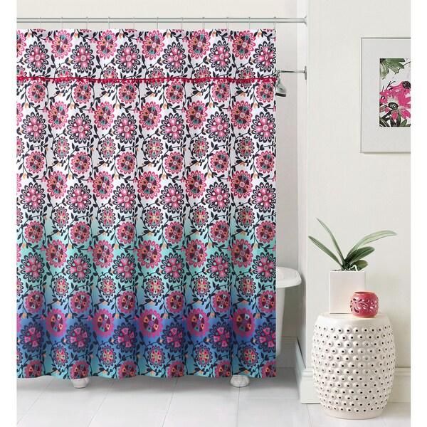 VCNY Ombre Pom Pom Shower Curtain