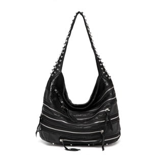 Vicenzo Leather Swagger Studded Hobo Handbag
