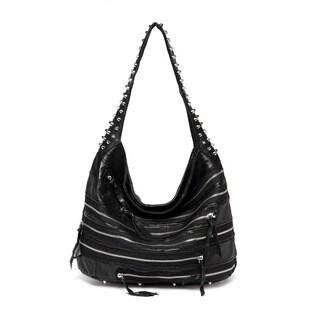 Vicenzo Leather Swagger Studded Hobo Handbag