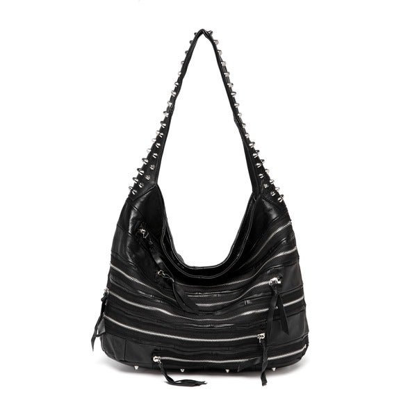 1767892cf7 Shop Vicenzo Leather Swagger Studded Hobo Handbag - Free Shipping ...
