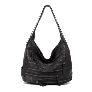 Swagger Black Studded Hobo Leather Handbag
