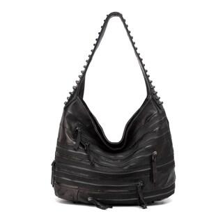 Vicenzo Leather Swagger Black Studded Hobo Leather Handbag
