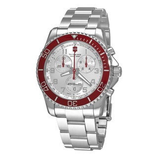 Swiss Army Men's 241434 'Maverick' Silver Dial Stainless Steel Chronograph Swiss Automatic Watch