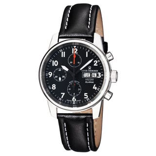 Revue Thommen Men's 16051.6537 'Automatic Chrono' Black Dial Black Leather Strap Swiss Watch|https://ak1.ostkcdn.com/images/products/10971490/P17995174.jpg?impolicy=medium
