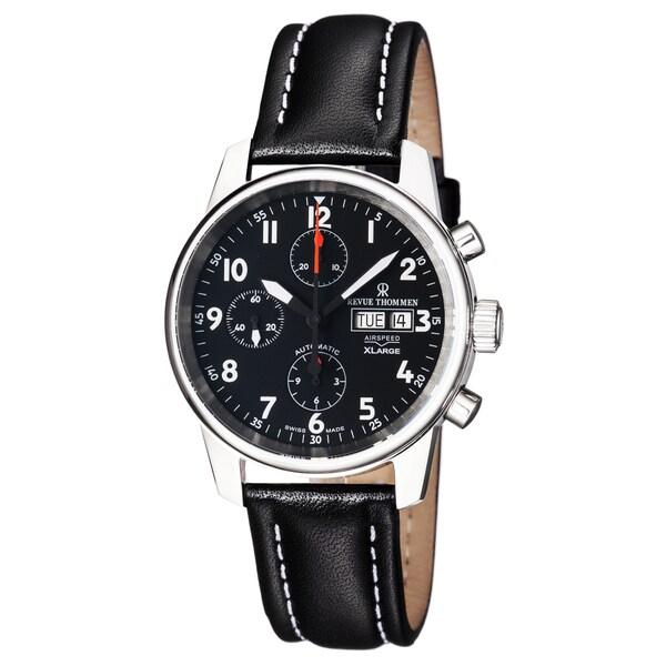 Revue Thommen Men's 'Automatic Chrono' Black Dial Black Leather Strap Swiss Watch