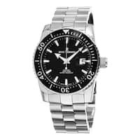 Revue Thommen Men's  'Diver' Black Dial Stainless Steel Bracelet Swiss Automatic Watch