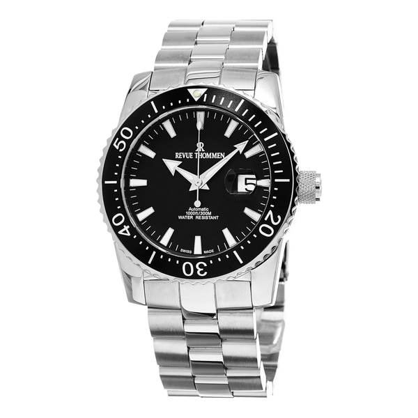 ce40b44ab93 Shop Revue Thommen Men s 17030.2137  Diver  Black Dial Stainless Steel  Bracelet Swiss Automatic Watch - On Sale - Free Shipping Today - Overstock  - 10971491