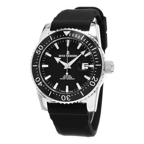 Revue Thommen Men's 17030.2537 'Diver' Black Dial Black Rubber Strap Swiss Automatic Watch