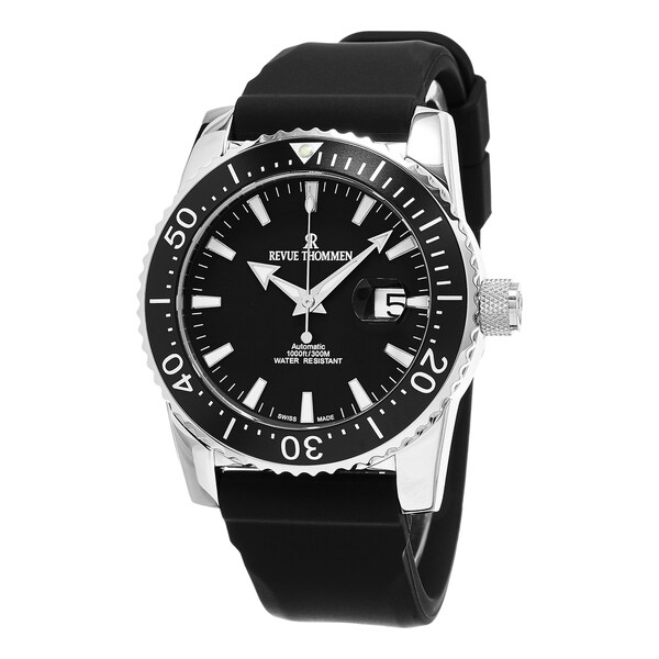 357ab21595f Shop Revue Thommen Men s 17030.2537  Diver  Black Dial Black Rubber Strap  Swiss Automatic Watch - On Sale - Free Shipping Today - Overstock - 10971492