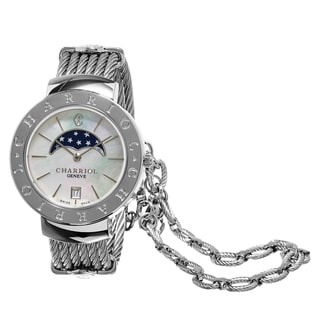 Charriol Women's ST35CS.560.001 'St Tropez' Mother of Pearl Dial Moon Phase Stainless Steel Swiss Quartz Watch