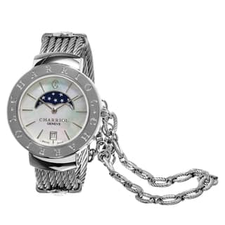 Charriol Women's ST35CS.560.001 'St Tropez' Mother of Pearl Dial Moon Phase Stainless Steel Swiss Qu|https://ak1.ostkcdn.com/images/products/10971496/P17995179.jpg?impolicy=medium