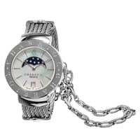 Charriol Women's  'St Tropez' Mother of Pearl Dial Moon Phase Stainless Steel Swiss Qu
