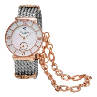 Charriol Women's ST30PI.560.010 'St Tropez' Mother of Pearl Dial Rose Goldtone/Stainless Steel Swiss Quartz Watch