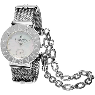 Charriol Women's ST30CS.560.016 'St Tropez' Mother of Pearl Diamond Dial Stainless Steel Swiss Quartz Watch
