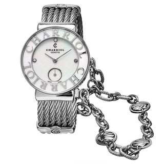 Charriol Women's ST30SC.560.011 'St Tropez' Mother of Pearl Diamond Dial Stainless Steel Seashell Swiss Quartz Watch