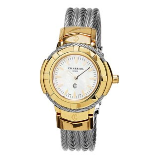 Charriol Women's CE426Y1.640.006 'Celtic' Mother of Pearl Dial Two Tone Stainless Steel Swiss Quartz