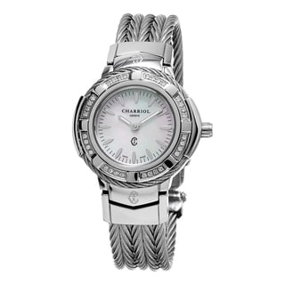 Charriol Women's CE426SD.640.005 'Celtic' Mother of Pearl Dial Stainless Steel Diamond Swiss Quartz Watch
