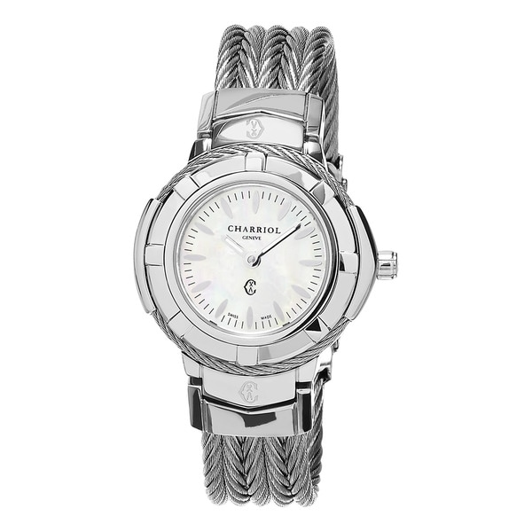 Charriol Women's 'Celtic' Mother of Pearl Dial Small Stainless Steel Swiss Quartz Wat - silver