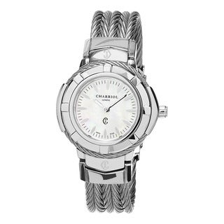Charriol Women's CE426S.640.005 'Celtic' Mother of Pearl Dial Small Stainless Steel Swiss Quartz Watch