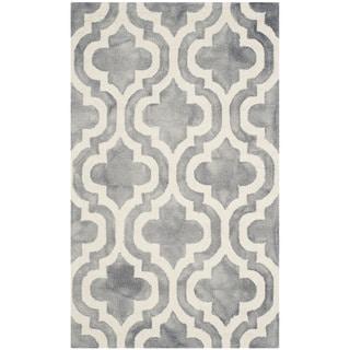 Safavieh Handmade Dip Dye Watercolor Vintage Grey/ Ivory Wool Rug (3' x 5')