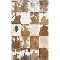 Safavieh Handmade Studio Leather Rustic Animal Ivory/ Tan Rug - 4' x 6'