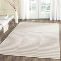 Safavieh Montauk Hand-Woven Flatweave Ivory/ Beige Stripe Cotton Rug - 4' x 6'