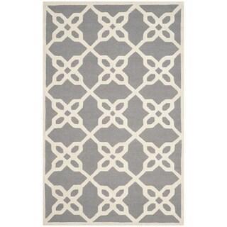 Safavieh Handmade Cambridge Barbra Modern Wool Rug (4 x 6 - Dark Grey/Ivory)