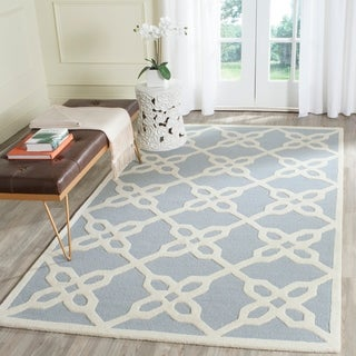 Safavieh Handmade Cambridge Blue/ Ivory Wool Rug (4' x 6')