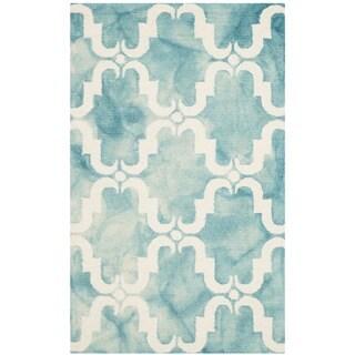 Safavieh Handmade Dip Dye Watercolor Vintage Turquoise/ Ivory Wool Rug (3' x 5')