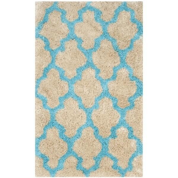 Safavieh Handmade Barcelona Shag Cream/ Blue Trellis Polyester Rug (3' x 5')