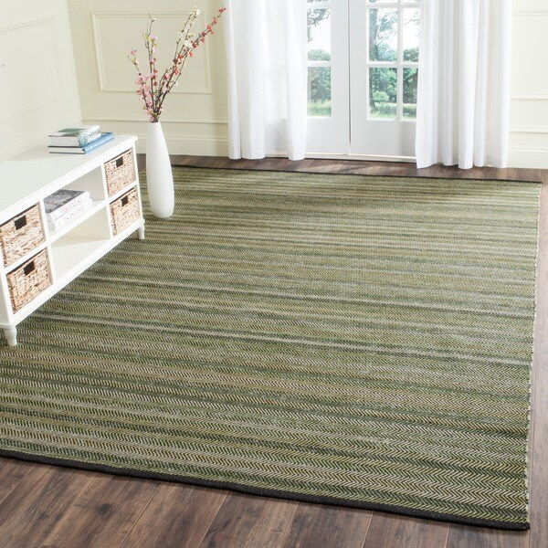 Safavieh Hand-Woven Striped Kilim Green Wool Rug