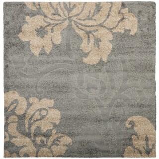 Safavieh Florida Shag Dark Grey/ Beige Floral Square Rug (4' Square)