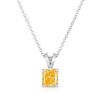 Solaura Collection 14k White Gold 3/4ct TW Radiant Lab-Grown Diamond Solitaire Pendant (Fancy Yellow, SI)