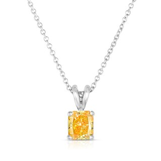 Solaura Collection 14k White Gold 1ct TW Radiant Lab-Grown Diamond Solitaire Pendant (Fancy Yellow, SI)