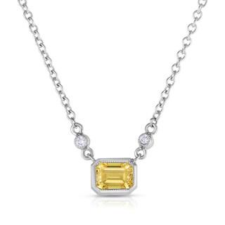 Solaura Collection 18k White Gold 7/8ct TW Emerald Cut Lab-Grown Diamond Bezel Pendant (Fancy Yellow, SI)