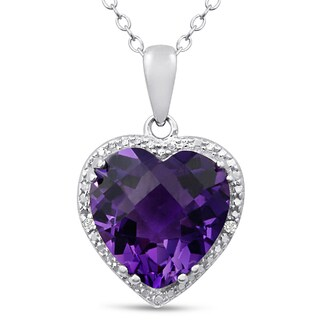 5 Carat Amethyst and Diamond Heart Necklace In Sterling Silver, 18 Inches