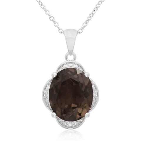 4 TGW Smoky Quartz And Diamond Necklace, 18 Inches