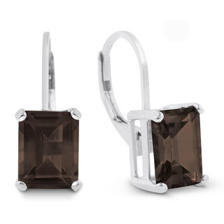 4 1/2 Carat Emerald Shape Smoky Quartz Leverback Earrings In Sterling Silver