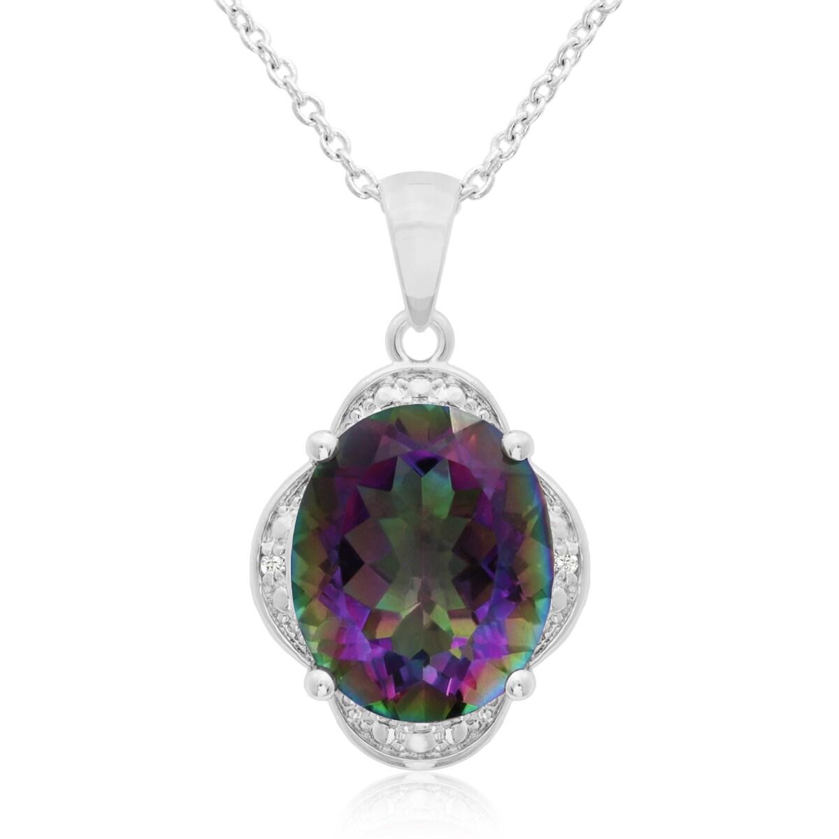 4 3/4 TGW Mystic Topaz And Diamond Necklace, 18 Inches (M...