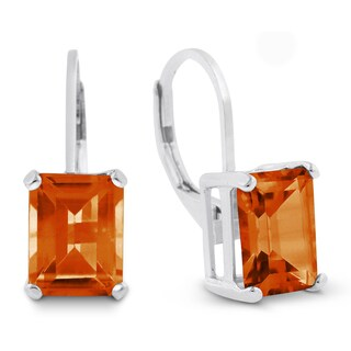 4 1/2 TGW Emerald Shape Created Padparadscha Sapphire Leverback Earrings In Sterling Silver - Orange