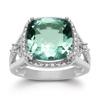5 TGW Cushion Cut Halo Style Green Amethyst Ring